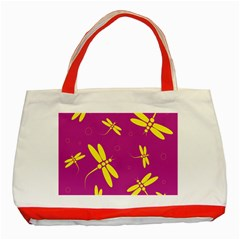Purple And Yellow Dragonflies Pattern Classic Tote Bag (red) by Valentinaart