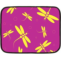 Purple and yellow dragonflies pattern Double Sided Fleece Blanket (Mini)