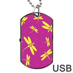 Purple And Yellow Dragonflies Pattern Dog Tag Usb Flash (two Sides)  by Valentinaart
