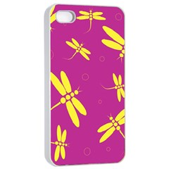 Purple And Yellow Dragonflies Pattern Apple Iphone 4/4s Seamless Case (white) by Valentinaart