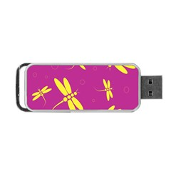 Purple And Yellow Dragonflies Pattern Portable Usb Flash (two Sides) by Valentinaart