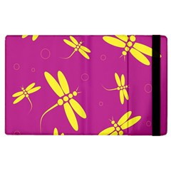 Purple And Yellow Dragonflies Pattern Apple Ipad 2 Flip Case by Valentinaart