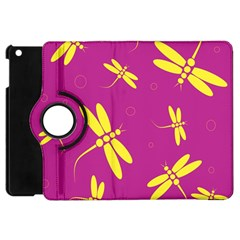 Purple And Yellow Dragonflies Pattern Apple Ipad Mini Flip 360 Case by Valentinaart
