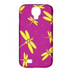Purple And Yellow Dragonflies Pattern Samsung Galaxy S4 Classic Hardshell Case (pc+silicone) by Valentinaart