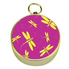 Purple And Yellow Dragonflies Pattern Gold Compasses by Valentinaart