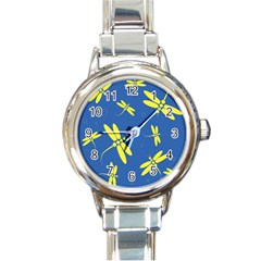 Blue And Yellow Dragonflies Pattern Round Italian Charm Watch by Valentinaart