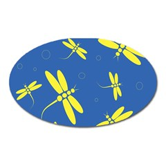 Blue And Yellow Dragonflies Pattern Oval Magnet by Valentinaart