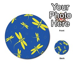 Blue And Yellow Dragonflies Pattern Multi Purpose Cards (round)  by Valentinaart