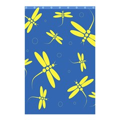 Blue And Yellow Dragonflies Pattern Shower Curtain 48  X 72  (small)  by Valentinaart