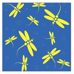 Blue And Yellow Dragonflies Pattern Large Satin Scarf (square) by Valentinaart