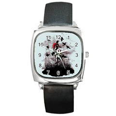 Dancing With Crows Square Metal Watch by lvbart