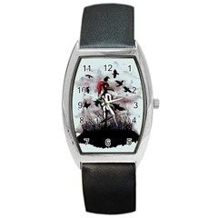 Dancing With Crows Barrel Style Metal Watch by lvbart