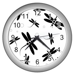 Black And White Dragonflies Wall Clocks (silver)  by Valentinaart