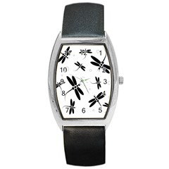 Black And White Dragonflies Barrel Style Metal Watch by Valentinaart