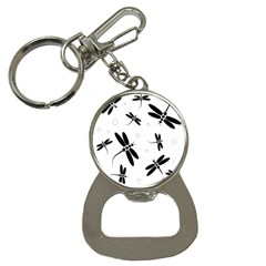 Black And White Dragonflies Bottle Opener Key Chains by Valentinaart