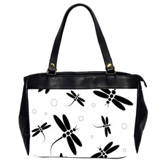 Black And White Dragonflies Office Handbags (2 Sides)  by Valentinaart
