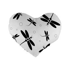 Black And White Dragonflies Standard 16  Premium Heart Shape Cushions by Valentinaart