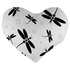 Black And White Dragonflies Large 19  Premium Heart Shape Cushions by Valentinaart