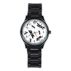 Black And White Dragonflies Stainless Steel Round Watch by Valentinaart