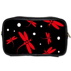 Red, Black And White Dragonflies Toiletries Bags 2 Side by Valentinaart