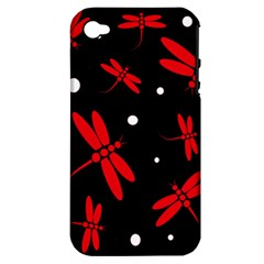 Red, Black And White Dragonflies Apple Iphone 4/4s Hardshell Case (pc+silicone) by Valentinaart