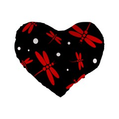 Red, Black And White Dragonflies Standard 16  Premium Heart Shape Cushions by Valentinaart