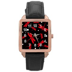 Red, Black And White Dragonflies Rose Gold Leather Watch  by Valentinaart