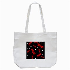Red, Black And White Dragonflies Tote Bag (white) by Valentinaart