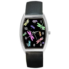 Pastel Dragonflies Barrel Style Metal Watch by Valentinaart