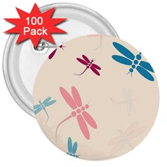 Pastel Dragonflies  3  Buttons (100 Pack)  by Valentinaart