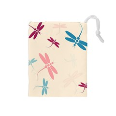Pastel Dragonflies  Drawstring Pouches (medium)  by Valentinaart
