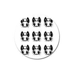Black And White Fireflies Patten Magnet 3  (round) by Valentinaart