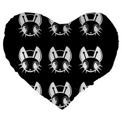 White And Black Fireflies  Large 19  Premium Heart Shape Cushions by Valentinaart