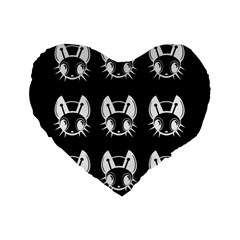 White And Black Fireflies  Standard 16  Premium Flano Heart Shape Cushions by Valentinaart
