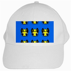 Yellow And Blue Firefies White Cap by Valentinaart