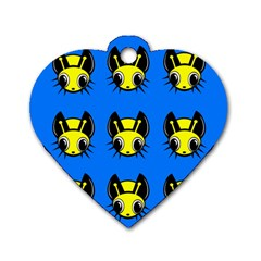 Yellow and blue firefies Dog Tag Heart (One Side)