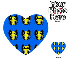 Yellow And Blue Firefies Multi Purpose Cards (heart)  by Valentinaart