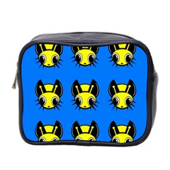 Yellow And Blue Firefies Mini Toiletries Bag 2 Side by Valentinaart
