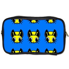 Yellow And Blue Firefies Toiletries Bags 2 Side by Valentinaart