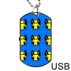 Yellow And Blue Firefies Dog Tag Usb Flash (one Side) by Valentinaart