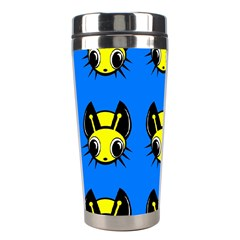 Yellow And Blue Firefies Stainless Steel Travel Tumblers by Valentinaart