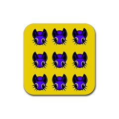 Blue And Yellow Fireflies Rubber Square Coaster (4 Pack)  by Valentinaart