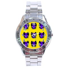 Blue And Yellow Fireflies Stainless Steel Analogue Watch by Valentinaart