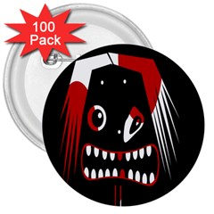 Zombie Face 3  Buttons (100 Pack)  by Valentinaart