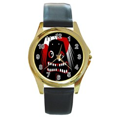 Zombie Face Round Gold Metal Watch by Valentinaart