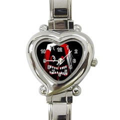 Zombie Face Heart Italian Charm Watch by Valentinaart