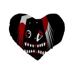 Zombie Face Standard 16  Premium Heart Shape Cushions by Valentinaart