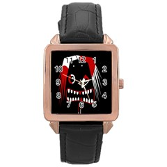 Zombie Face Rose Gold Leather Watch  by Valentinaart
