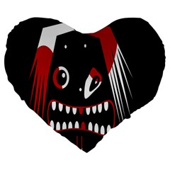 Zombie Face Large 19  Premium Flano Heart Shape Cushions by Valentinaart