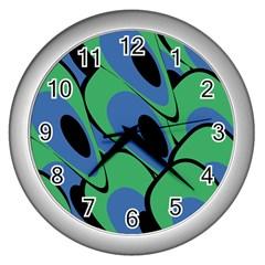 Peacock Pattern Wall Clocks (silver)  by Valentinaart